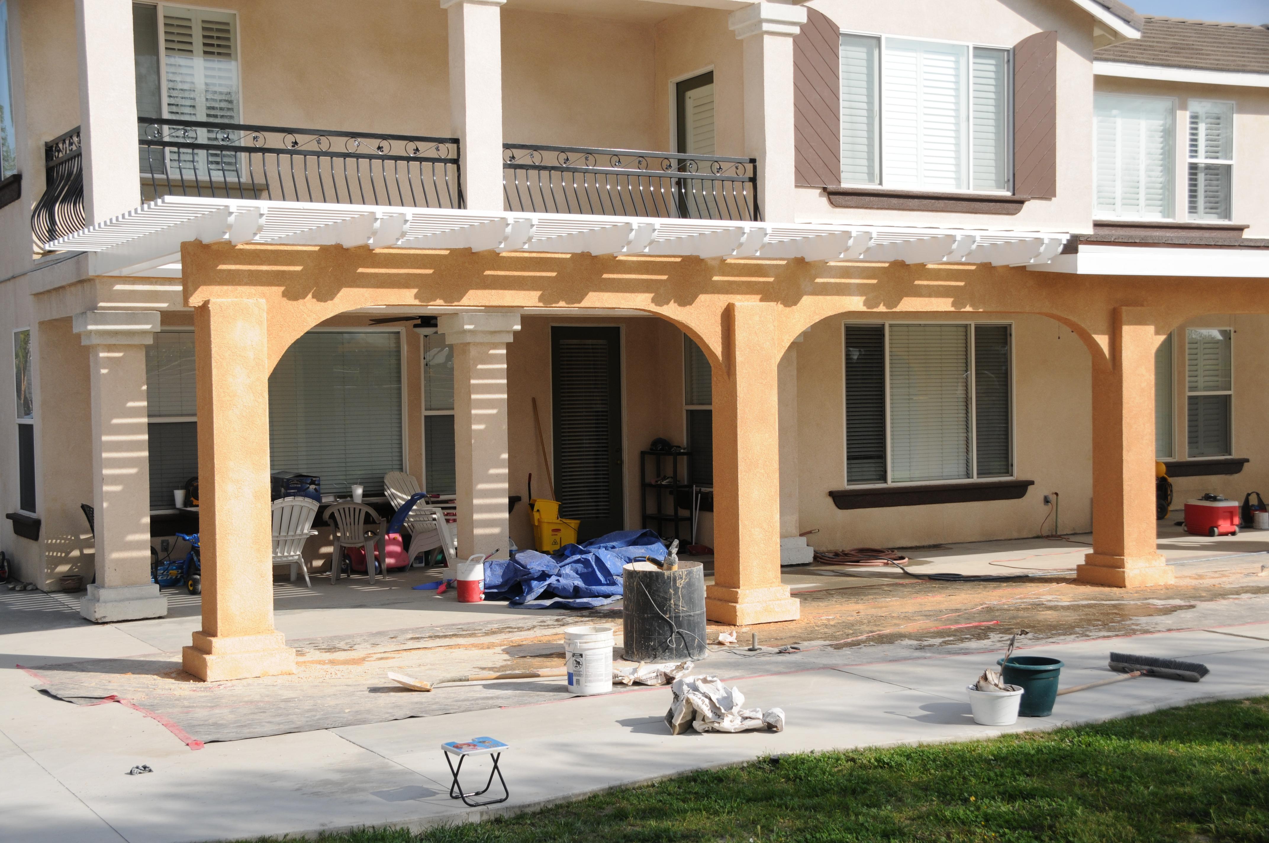1 250 sq f t solid open lattice patio cover combination for Stucco columns